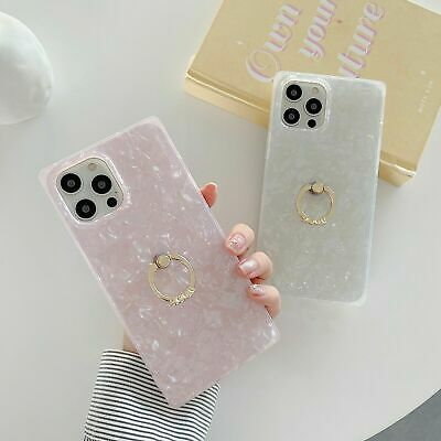 AU14.25 • Buy Granite Marble Square Phone Case For IPhone 7 8+ XR X 11 12 Pro With Ring Holder