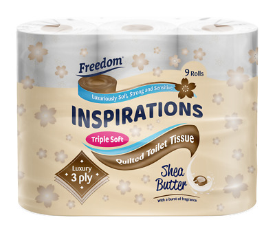 £12.99 • Buy 45 Rolls Freedom Inspirations Quilted Shea Butter 3 Ply Toilet Paper