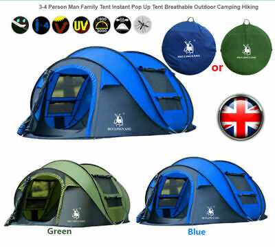 £100 • Buy 4Person Man Family Tent Instant Pop Up Tent Breathable Outdoor Camping Hiking UK
