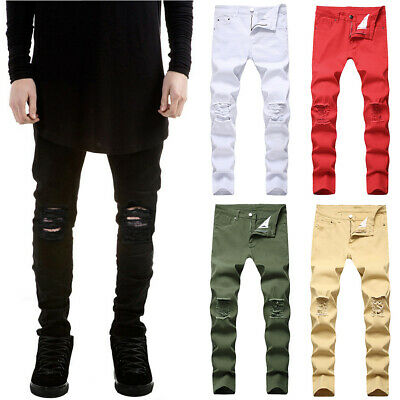 $33.05 • Buy Mens Stretch Skinny Ripped Denim Jeans Pants Casual Slim Fit Distressed Trousers