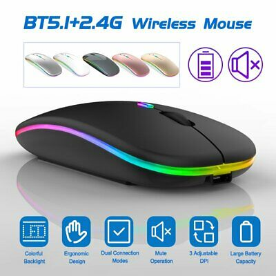 AU13.79 • Buy Rechargeable 1600DPI Wireless Bluetooth Optical Mouse For Tablet PC Laptop Mac
