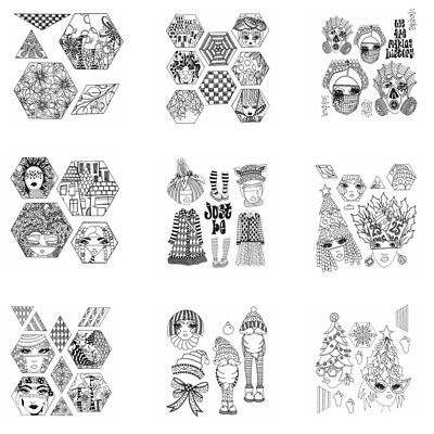 £4.05 • Buy Geometric Girls Face Eye Clear Rubber Stamps DIY Scrapbooking Craft Stencil Card