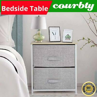 £11.99 • Buy Grey Chest Of 2 Drawers Bedside Table Storage Sofa Side Cabinet Bedroom Stand