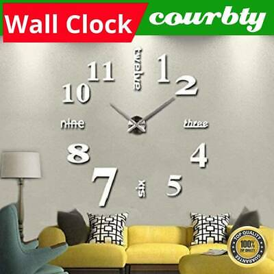£5.99 • Buy Modern Wall Clock Sticker Silver DIY Large Number Office Home Decor Art Decal