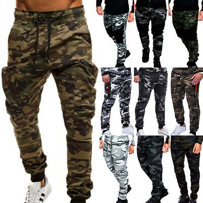 $23.17 • Buy Mens Camouflage Camo Cargo Combat Trousers Joggers Track Army Sweat Long Pants