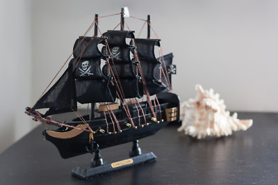 £28.99 • Buy Handmade Wooden Sailing Ship Pirate Boat Black Pearl Model Gift Home Decoration