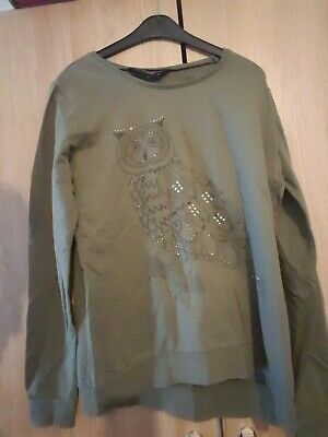 £0.99 • Buy Ex Condition Ladies Green Long Sleeved Owl Jumper From Dorothy Perkins Size 8