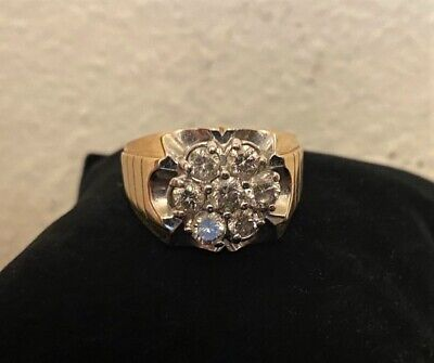 $1700 • Buy Vintage Estate Mens 14K Gold & Diamond Cluster Pinky Ring -Size 10.5-11 W Papers