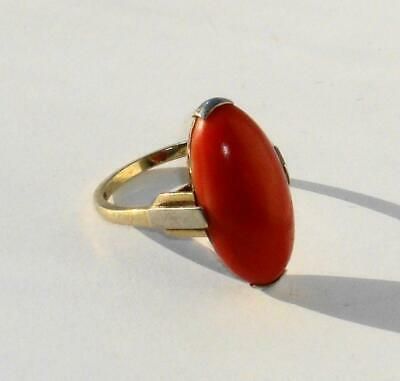£165 • Buy Rare Antique Art Deco Finest Quality Large Cabochon Marquis Red Coral Gold Ring