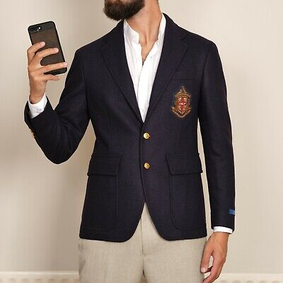 $356.31 • Buy £595 NEW POLO Ralph Lauren Wool Embroidered Crest Patch Blazer Jacket Mens 36 46