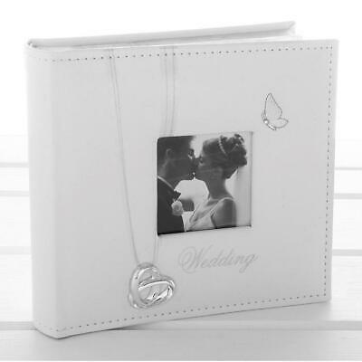 £12 • Buy White Faux Leather Wedding Day Photo Album With Intertwined Wedding Rings And Bu