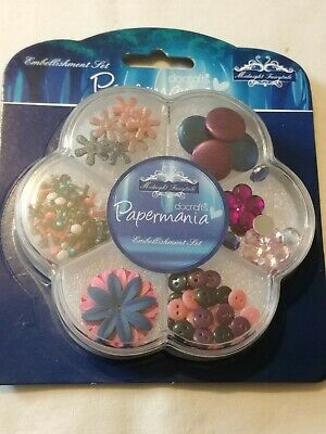 £3.99 • Buy Docrafts Papermania Embellishment Set Midnight Fairy-tale Buttons Gems Brads