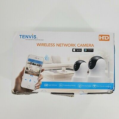 £34.10 • Buy TENVIS Wireless Network Camera White 2 Pack HD 2-Way Audio 1-Click App Install