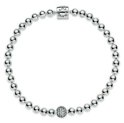 £9.89 • Buy 17 18  20 21 CM Women's Bracelet Beads & Pave S925 Sterling Silver With Gift Bag