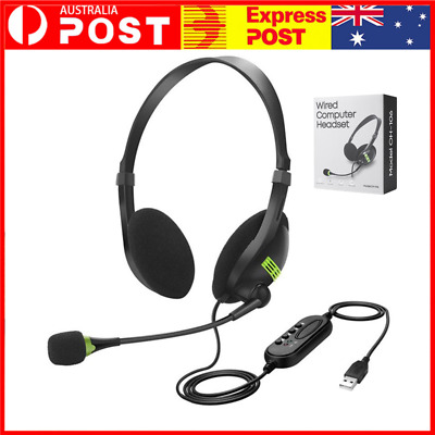 AU12.99 • Buy USB Headset Gaming Headphone With Microphone Noise Cancelling For PC Laptop