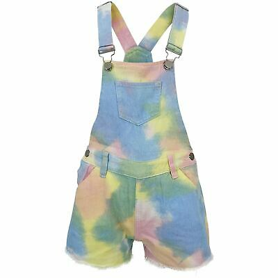 £12.99 • Buy Girls Rainbow Colourful Pastel Tie-Dye Dungaree Denim Kids Summer Outfit Gift