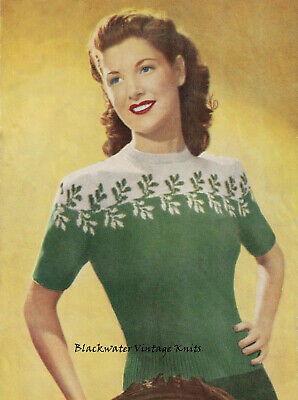 £1.99 • Buy Vintage 1940s Knitting Pattern For A Sweater With Colourwork Yoke- Copy