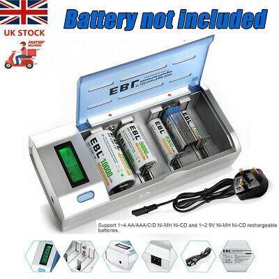 £14.99 • Buy EBL Universal Smart LCD Charger For 9V AA AAA C D Ni-MH/Cd Rechargeable Battery