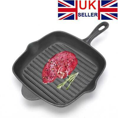 £14.99 • Buy Non-Stick Griddle Grill Frying Pan Cast Iron Square Skillet BBQ Steak Pancake