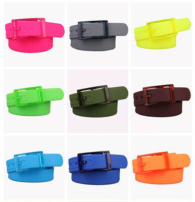 £7.69 • Buy Mens Womens Unisex Plain Smooth Silicone Rubber Leather Belt Plastic Buckle NEW