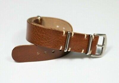 $20.99 • Buy Men Watch Strap Military Style Brown Veg Tanned Leather Watch Band 18 20 22 24mm