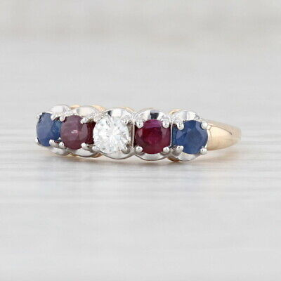 £287.80 • Buy 1.13ctw Red Ruby Blue Sapphire White Diamond Ring 14k Yellow Gold Size 6.5