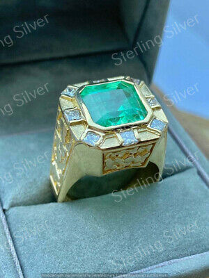 $118.43 • Buy Vintage 7.20 Ct Colombian Emerald/Diamond Men's Ring In 14K Yellow Gold Finish