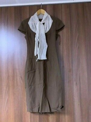 £5.99 • Buy Escada Brown Dress With Polka Dot Neck Tie Size 36 (UK8) Used In Great Condition