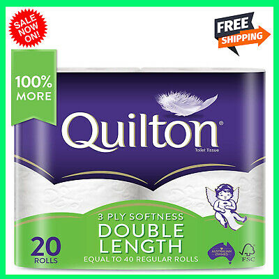 AU25.98 • Buy Toilet Paper 20 Rolls Deluxe Quilton 3 Ply Double Length Large Roll Tissue Bulk