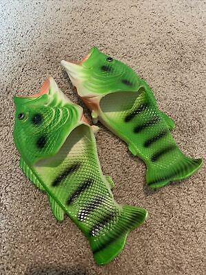 $ CDN25.16 • Buy Unisex Size 8-9 Funny Large Mouth Bass Fish Shaped Soft Slippers Flip Flops Neon