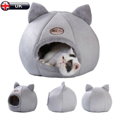 £12.69 • Buy Pet Cat Dog Nest Bed Puppy Soft Warmer Cave House Winter Sleeping Igloo Kennel
