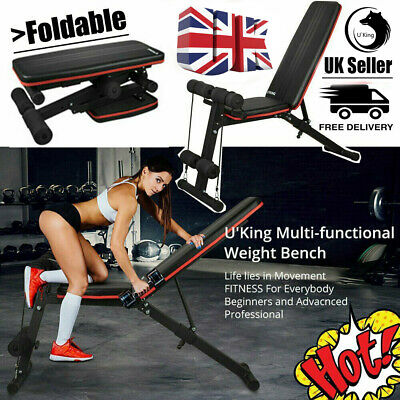£39.99 • Buy Adjustable Weight Barbell Bench Sit Up Gym Workout Flat Incline Decline Lifting