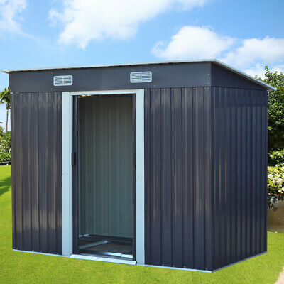 £319.95 • Buy Outdoor Garden Shed Metal Tool Storage House Flat Roof W/ Free Base 4x6ft 4x8ft