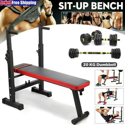 £64.79 • Buy Heavy Duty Adjustable Folding Sit Up Weight Bench Dip Station 20KG DUMBBELL Lift