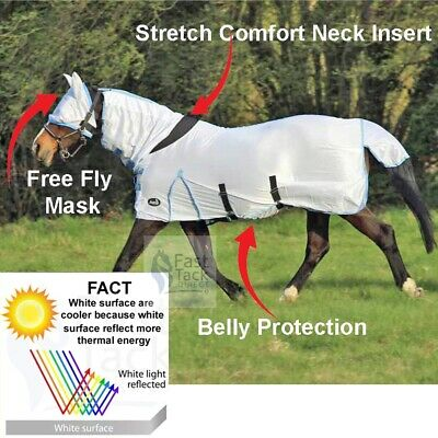 £29.85 • Buy Horse Fly Rug | Combo Neck Cover | Free Fly Mask | Reflective Cool White | Sale