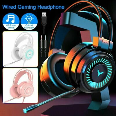 AU24.88 • Buy LED M10 Gaming Headset RGB Wired Headphones Stereo With Mic For One PS4 PC Xbox