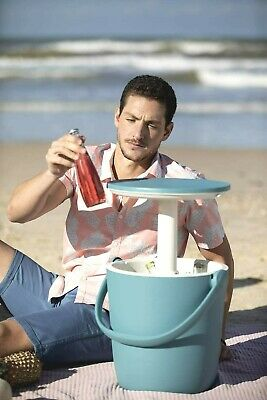 £39.99 • Buy Keter Table Cooler White And Blue Garden Beach Picnic Table Ice Bucket-Cool Bar