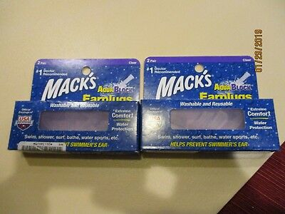 $5.99 • Buy 2 Box Total 4 Pair MACK'S AquaBlock Earplugs #1 Doctor Recommended In USA Clear