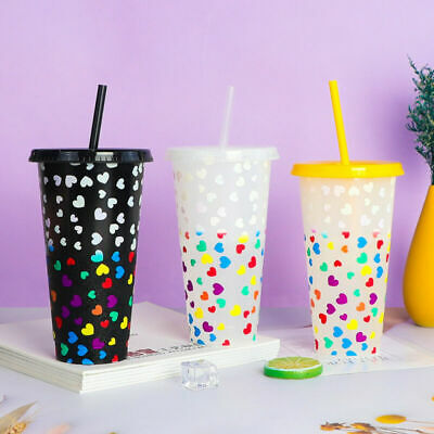 £4.48 • Buy Color Changing Confetti Cup Reusable Tumbler With Lid And Straw Cold Cup UK