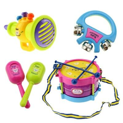 £6.85 • Buy 5Pcs Kids Baby Roll Drum Musical Instruments Band Kit For Children Toy Gift Set