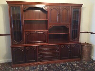 £150 • Buy  Harrison & Gibson Large Dark Wood Display Unit With Storage Drawers + Cabinet