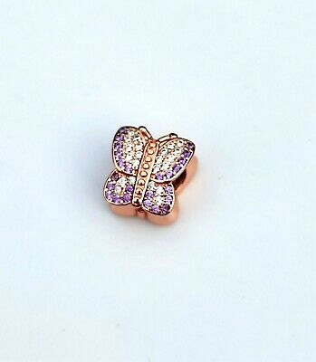 AU18.50 • Buy Rose Gold Pave Butterfly Charm BEAD SILVER EUROPEAN By Pandora's Love