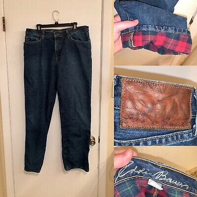 $24.99 • Buy Eddie Bauer Flannel Lined Jeans Mens Size 36x32 Relaxed Fit Blue Belted Logo