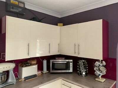 £13 • Buy Various Sizes Cream High Gloss Kitchen Cabinet Doors - With Brackets - B&q -