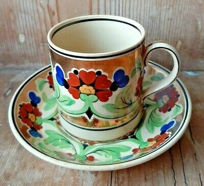 £20 • Buy Wedgwood John Goodwin Design Copper Lustre & Floral Coffee Cup & Saucer C.1930s