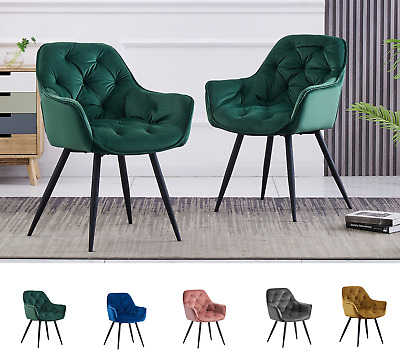 AU139.99 • Buy 1X Dining Chair Velvet Arm Chair Tufted Seat Metal Leg Kitchen Chair Home Office