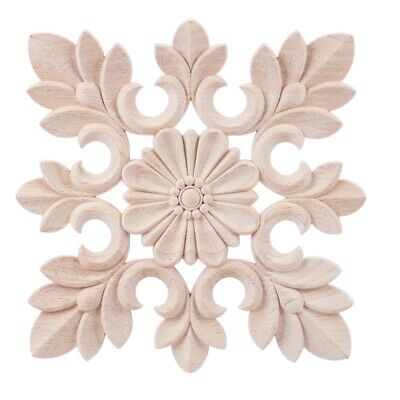 AU14.86 • Buy 1X Rubber Wood Carved Floral Decal Craft Onlay Applique Furniture DIY Decor