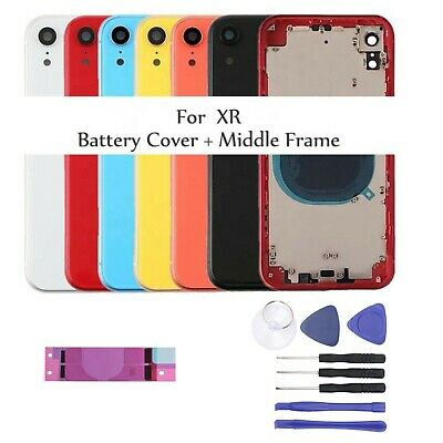 £19.50 • Buy For IPhone XR Metal Frame Rear Back Housing Chassis Glass Cover Replacement