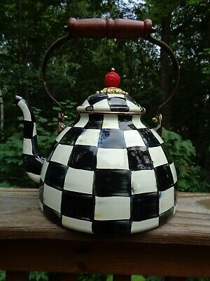 $66 • Buy Mackenzie Childs 3 Qt Enamel Courtly Check Tea Kettle Damaged/display Only