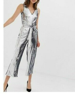 £69.95 • Buy Warehouse Jumpsuit In Silver Sequin Uk12 Rrp£120 New With Tags